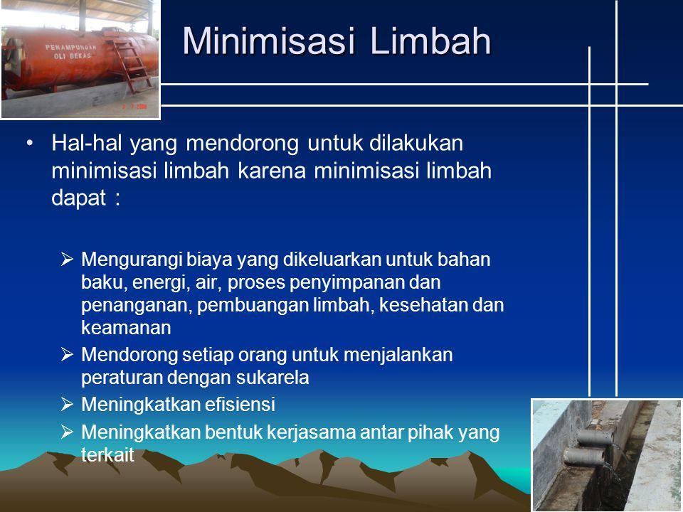 Minimisasi Limbah Hal-hal yang mendorong untuk dilakukan minimisasi limbah karena minimisasi limbah dapat :