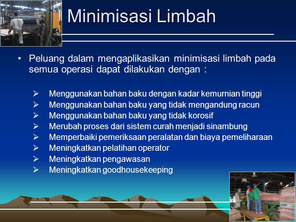 Minimisasi Limbah Peluang dalam mengaplikasikan minimisasi limbah pada semua operasi dapat dilakukan dengan :