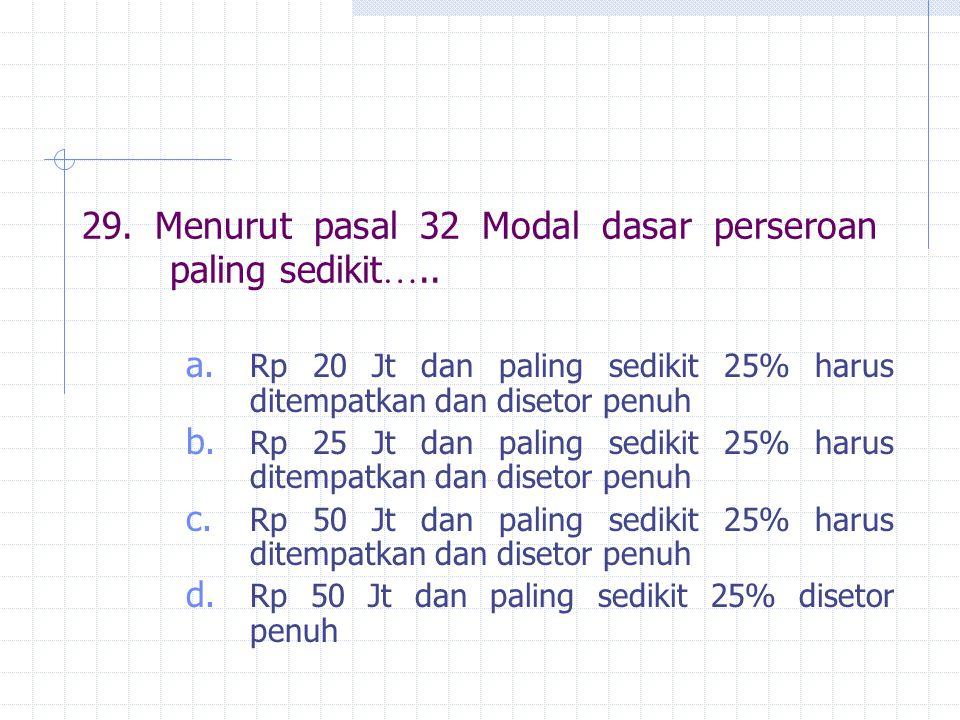 29. Menurut pasal 32 Modal dasar perseroan paling sedikit…..