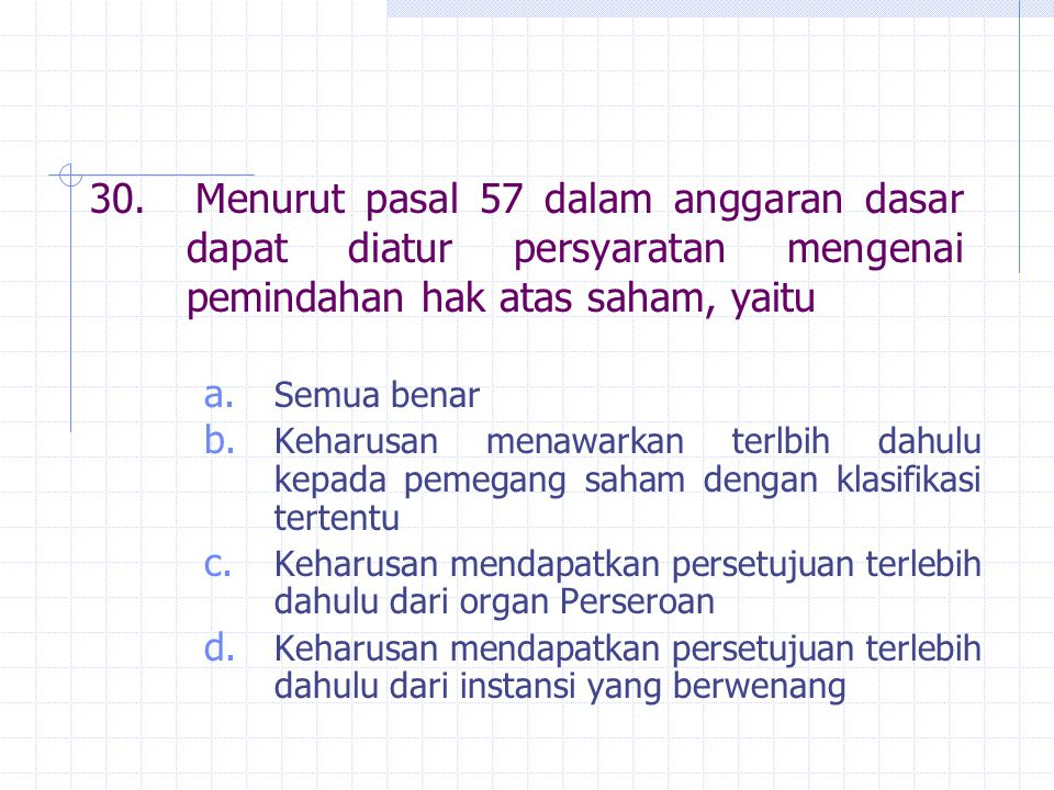 30. Menurut pasal 57 dalam anggaran dasar dapat diatur persyaratan mengenai pemindahan hak atas saham, yaitu