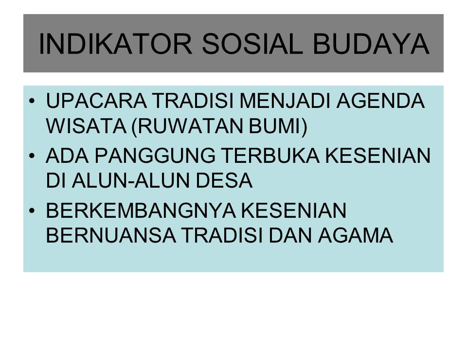 INDIKATOR SOSIAL BUDAYA