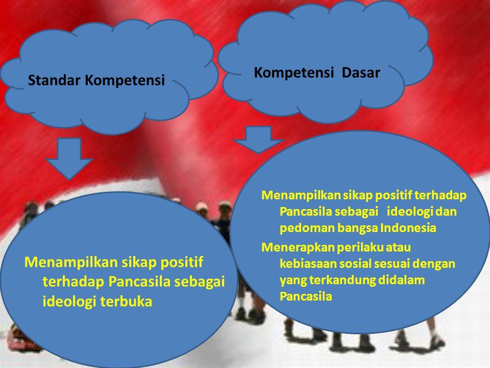 Menampilkan sikap positif terhadap Pancasila sebagai ideologi terbuka