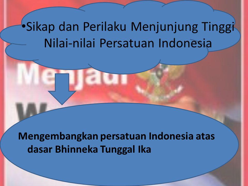 Sikap dan Perilaku Menjunjung Tinggi Nilai-nilai Persatuan Indonesia