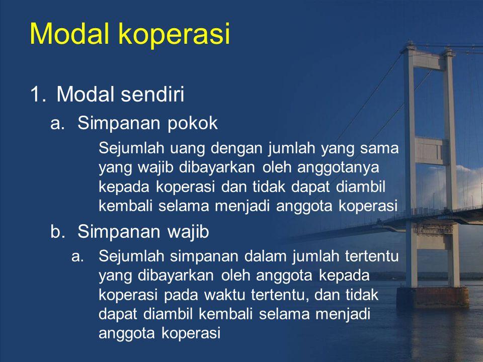 Modal koperasi Modal sendiri Simpanan pokok Simpanan wajib
