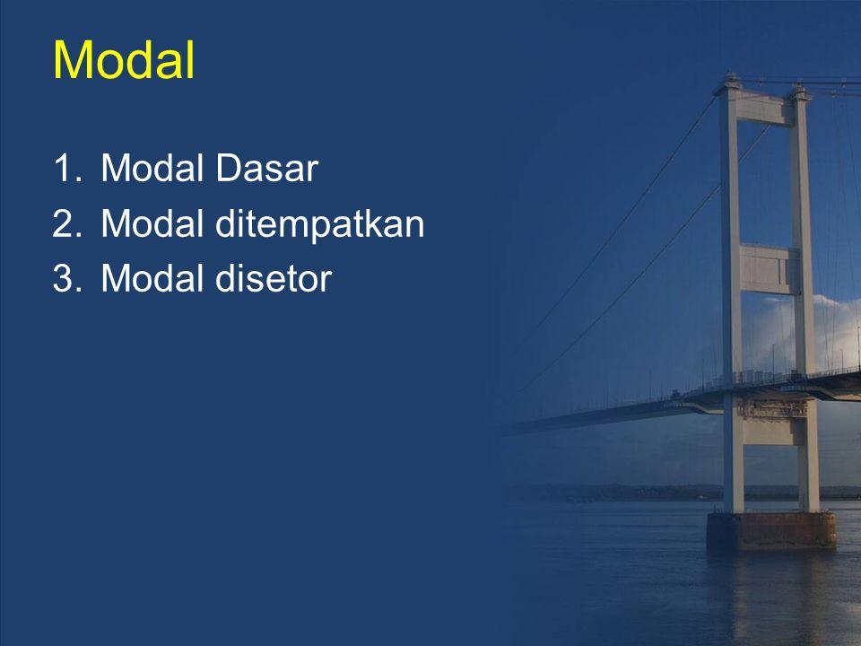 Modal Modal Dasar Modal ditempatkan Modal disetor