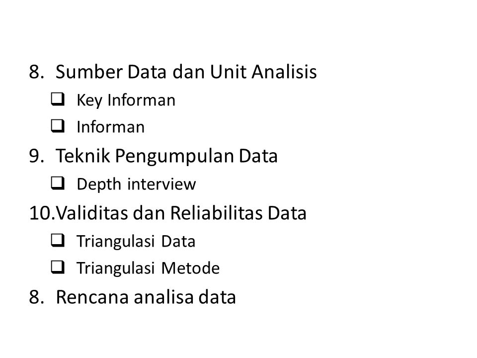 Sumber Data dan Unit Analisis