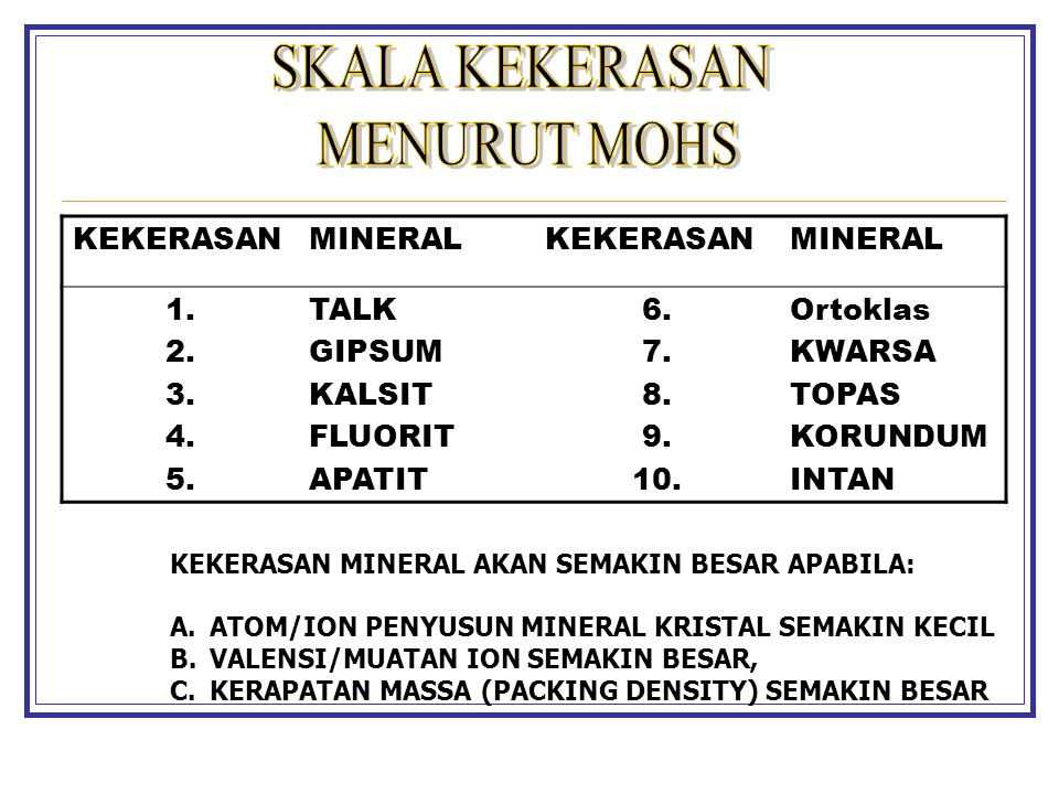 SKALA KEKERASAN MENURUT MOHS KEKERASAN MINERAL 1. 2. 3. 4. 5. TALK