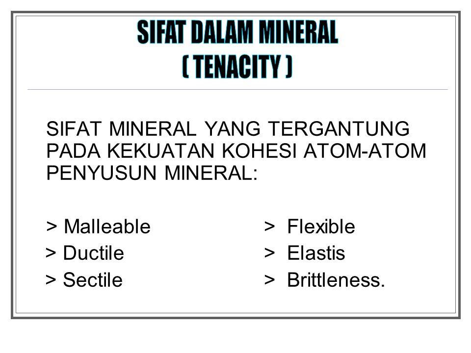SIFAT DALAM MINERAL ( TENACITY )