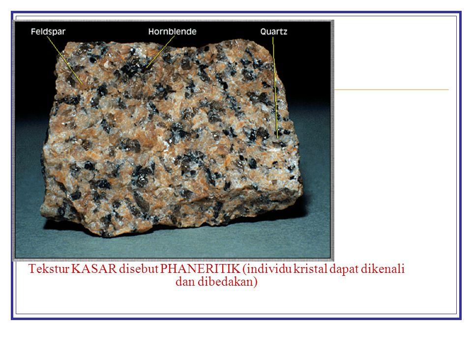 Tekstur KASAR disebut PHANERITIK (individu kristal dapat dikenali dan dibedakan)