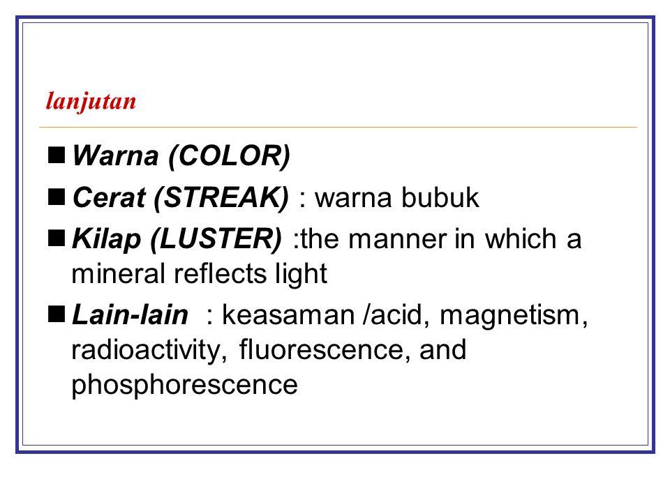 Cerat (STREAK) : warna bubuk