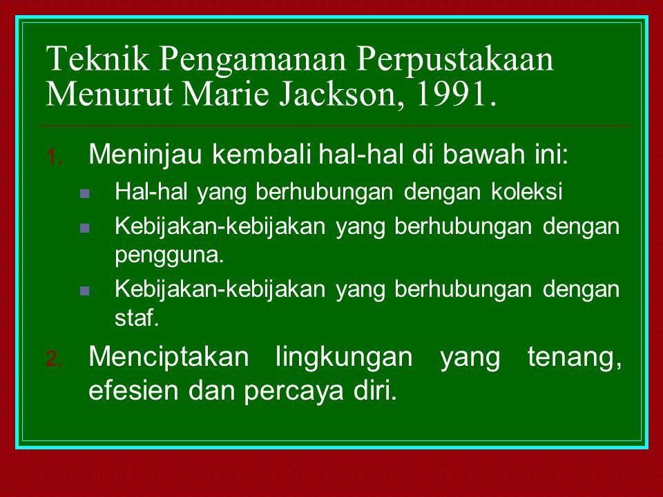Teknik Pengamanan Perpustakaan Menurut Marie Jackson, 1991.