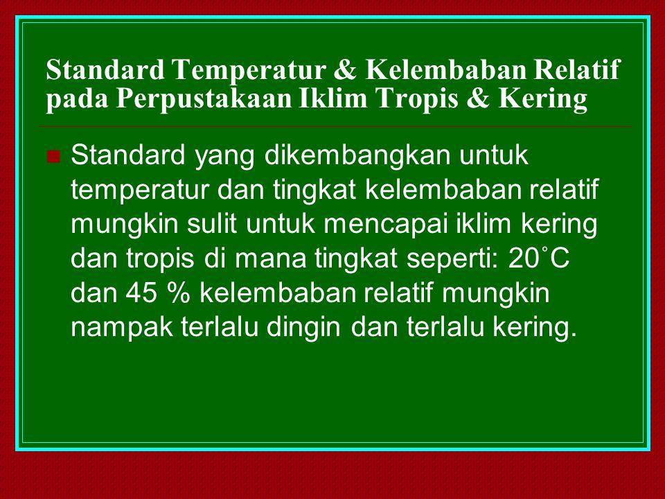 Standard Temperatur & Kelembaban Relatif pada Perpustakaan Iklim Tropis & Kering