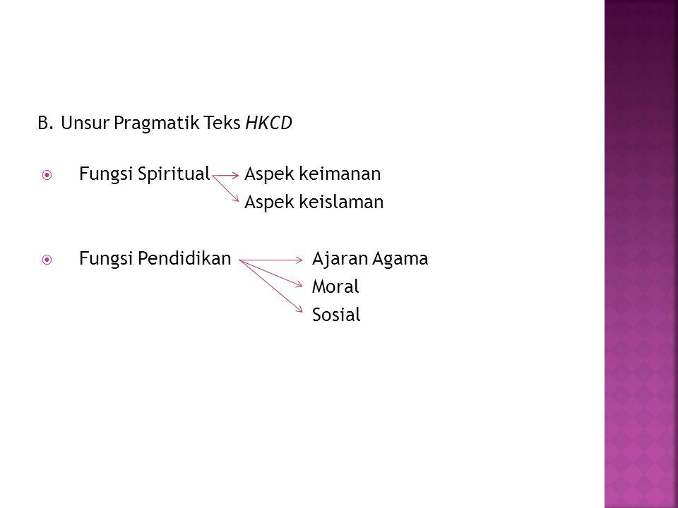 B. Unsur Pragmatik Teks HKCD