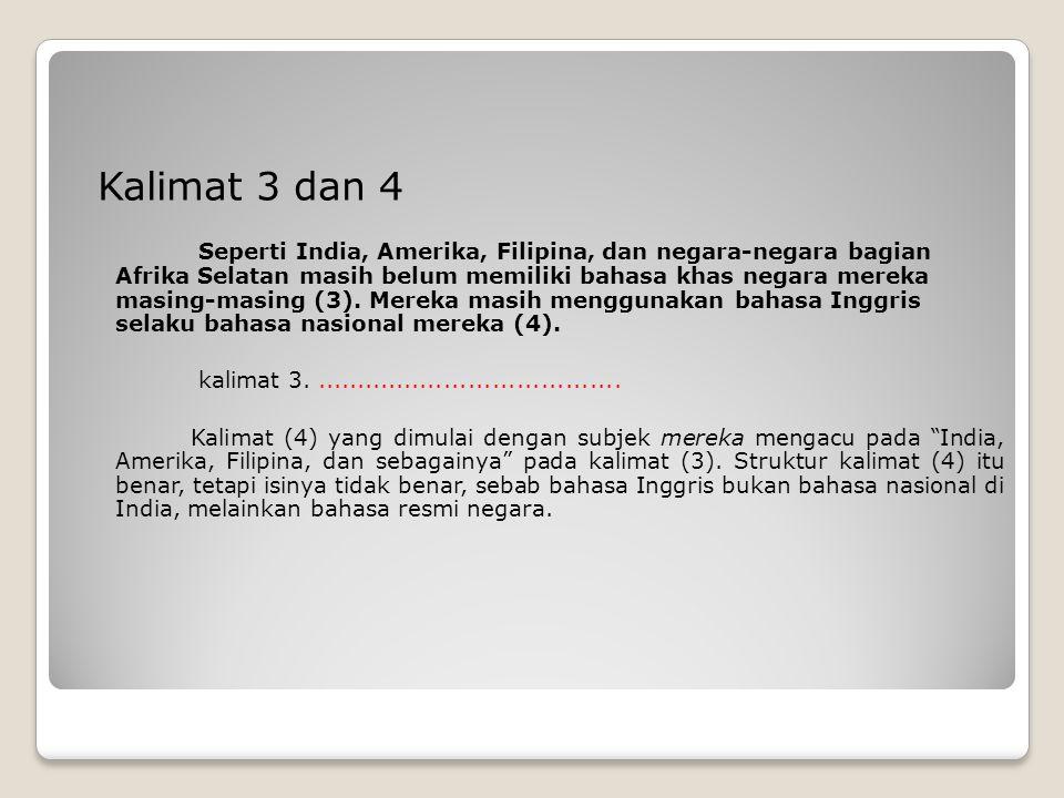 Kalimat 3 dan 4