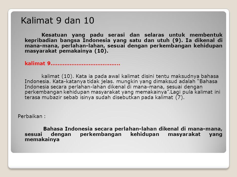 Kalimat 9 dan 10