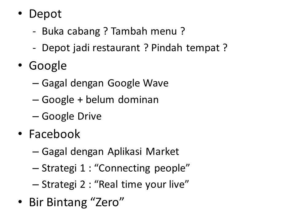 Depot Google Facebook Bir Bintang Zero Buka cabang Tambah menu