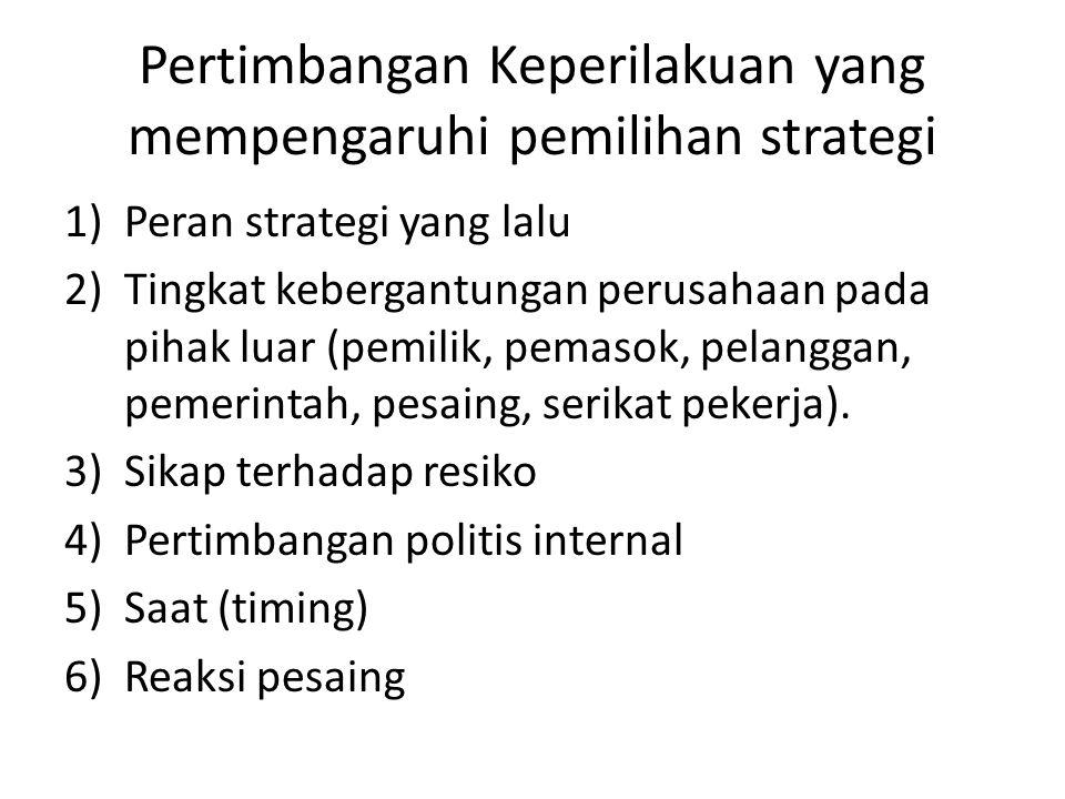 Pertimbangan Keperilakuan yang mempengaruhi pemilihan strategi