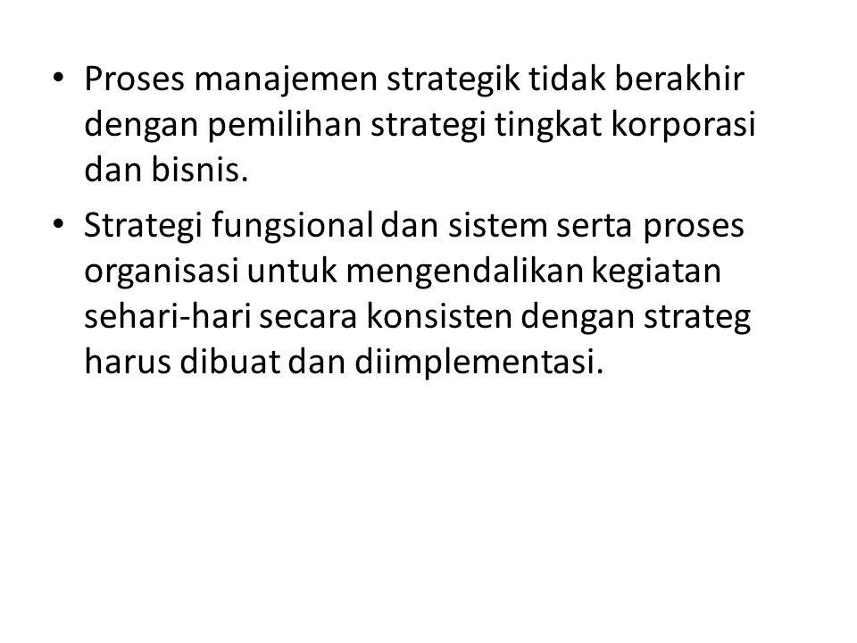 Proses manajemen strategik tidak berakhir dengan pemilihan strategi tingkat korporasi dan bisnis.