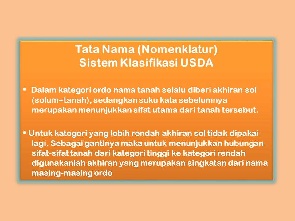 Tata Nama (Nomenklatur) Sistem Klasifikasi USDA