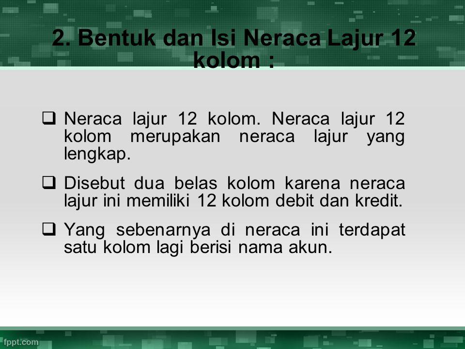 2. Bentuk dan Isi Neraca Lajur 12 kolom :