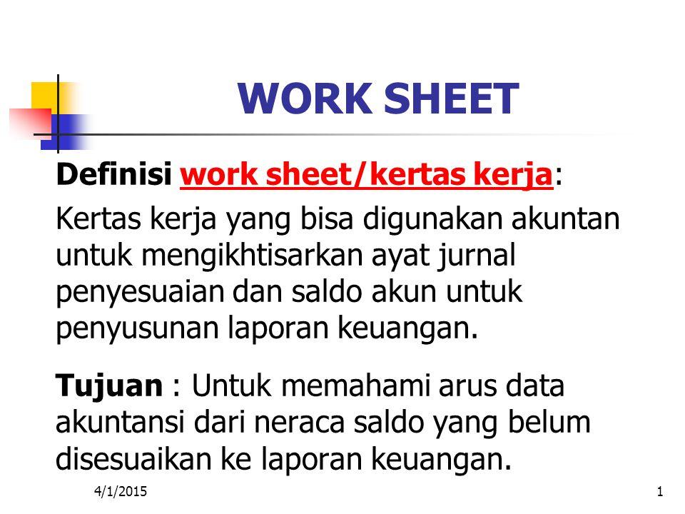 WORK SHEET Definisi work sheet/kertas kerja:
