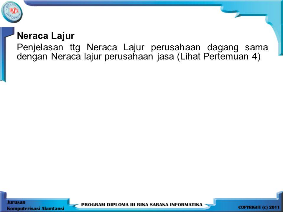 Neraca Lajur Penjelasan ttg Neraca Lajur perusahaan dagang sama dengan Neraca lajur perusahaan jasa (Lihat Pertemuan 4)
