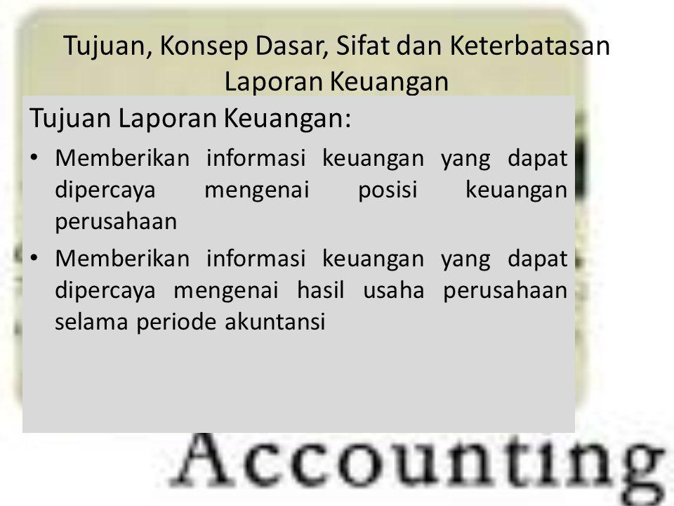 Tujuan, Konsep Dasar, Sifat dan Keterbatasan Laporan Keuangan