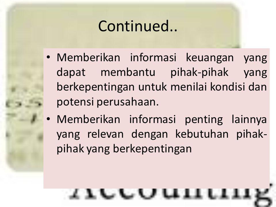 Continued.. Memberikan informasi keuangan yang dapat membantu pihak-pihak yang berkepentingan untuk menilai kondisi dan potensi perusahaan.