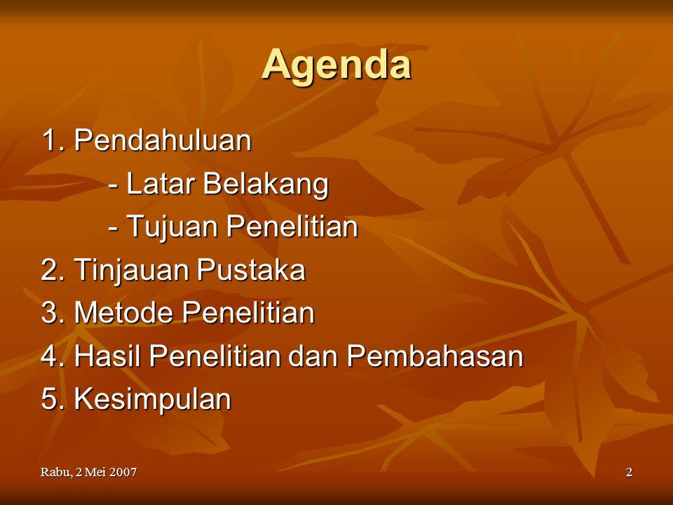 Agenda 1. Pendahuluan - Latar Belakang - Tujuan Penelitian