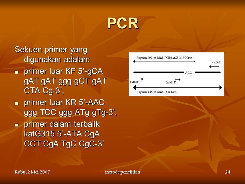 PCR Sekuen primer yang digunakan adalah: