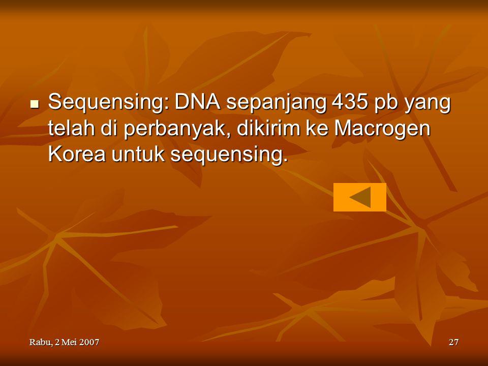 Sequensing: DNA sepanjang 435 pb yang telah di perbanyak, dikirim ke Macrogen Korea untuk sequensing.