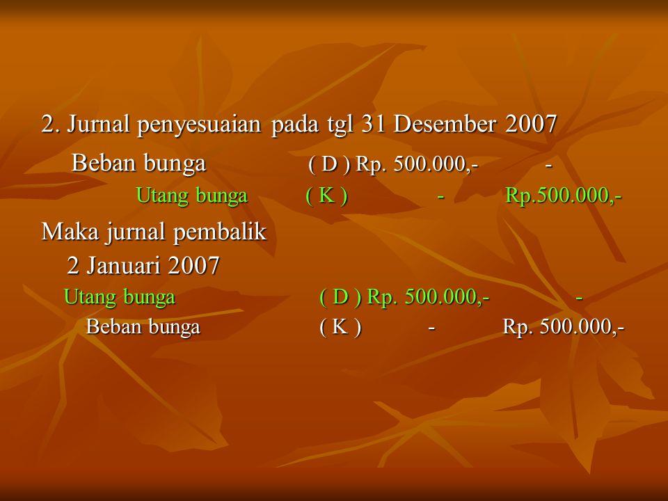 2. Jurnal penyesuaian pada tgl 31 Desember 2007