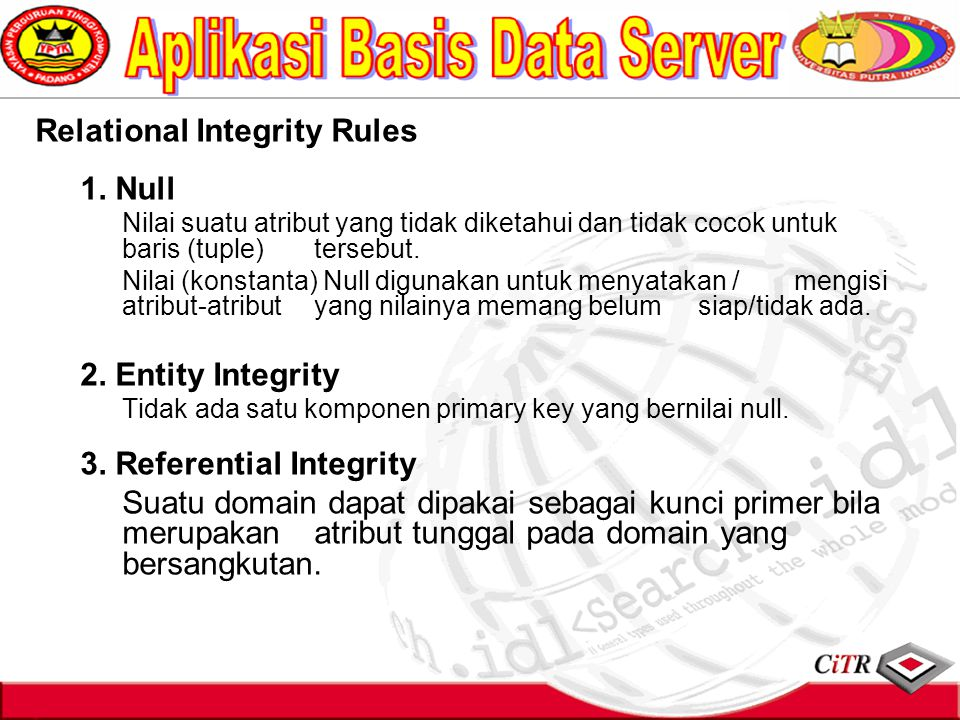 Relational Integrity Rules 1. Null