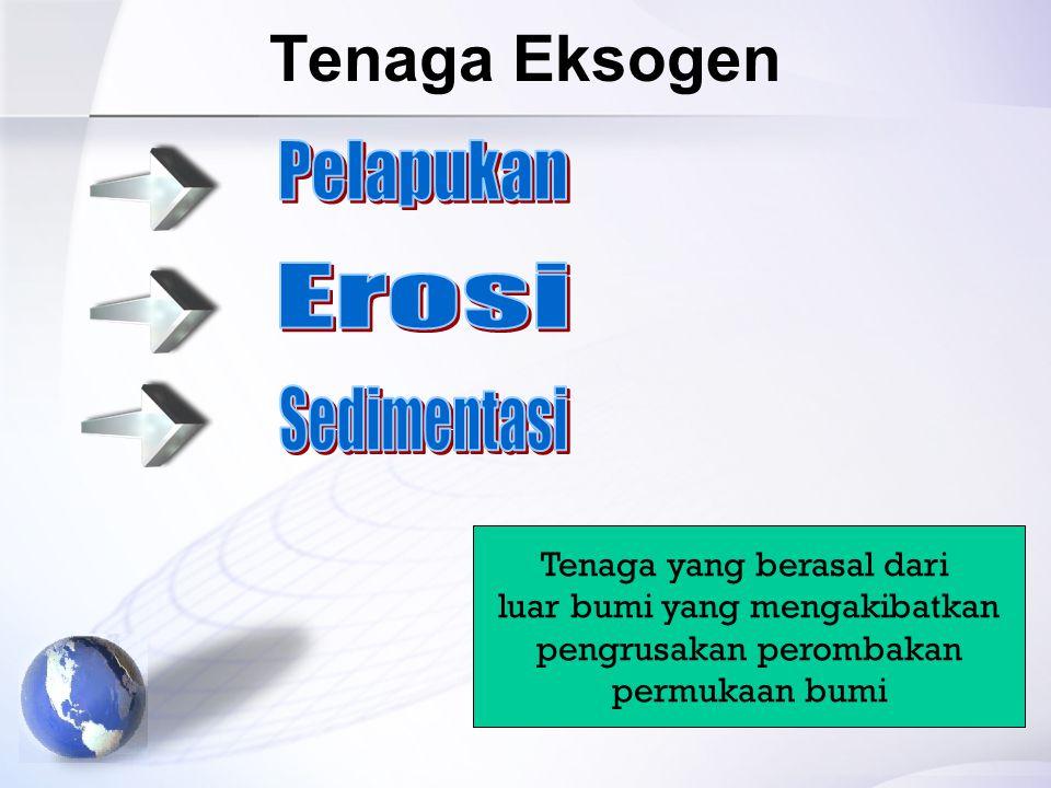 Tenaga Eksogen Pelapukan Erosi Sedimentasi Tenaga yang berasal dari