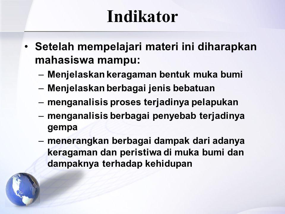 Indikator Setelah mempelajari materi ini diharapkan mahasiswa mampu: