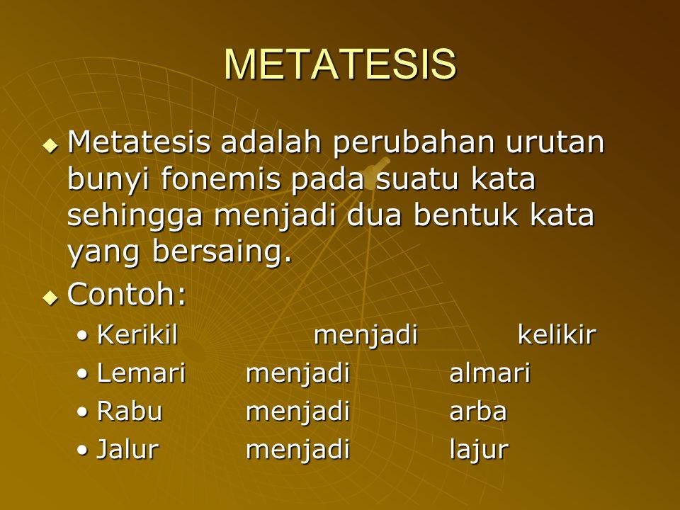 METATESIS Metatesis adalah perubahan urutan bunyi fonemis pada suatu kata sehingga menjadi dua bentuk kata yang bersaing.