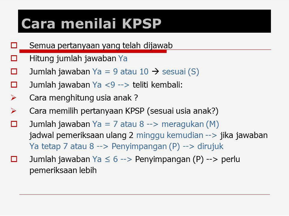 Cara menilai KPSP Semua pertanyaan yang telah dijawab