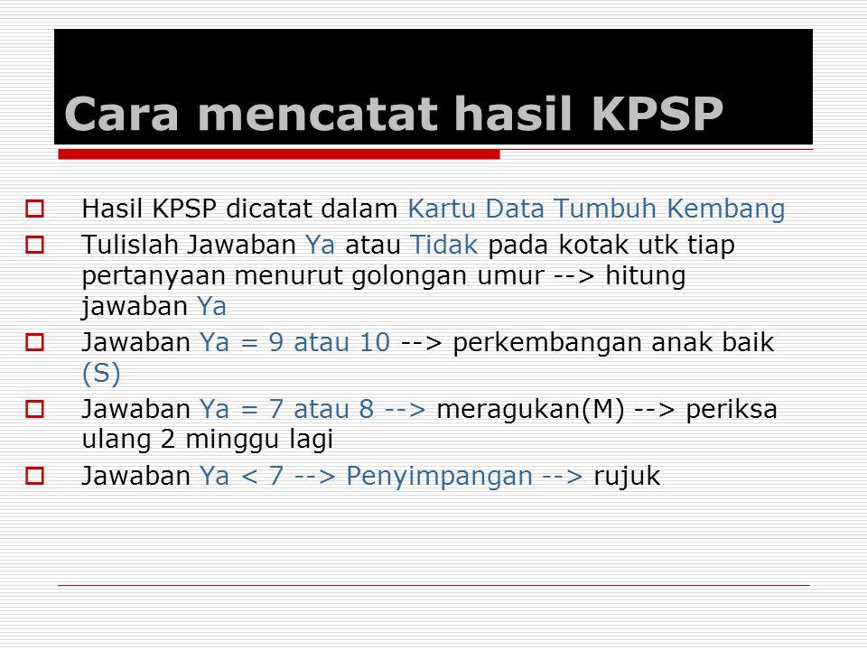 Cara mencatat hasil KPSP