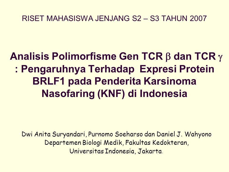 RISET MAHASISWA JENJANG S2 – S3 TAHUN 2007 Analisis Polimorfisme Gen TCR  dan TCR  : Pengaruhnya Terhadap Expresi Protein BRLF1 pada Penderita Karsinoma Nasofaring (KNF) di Indonesia