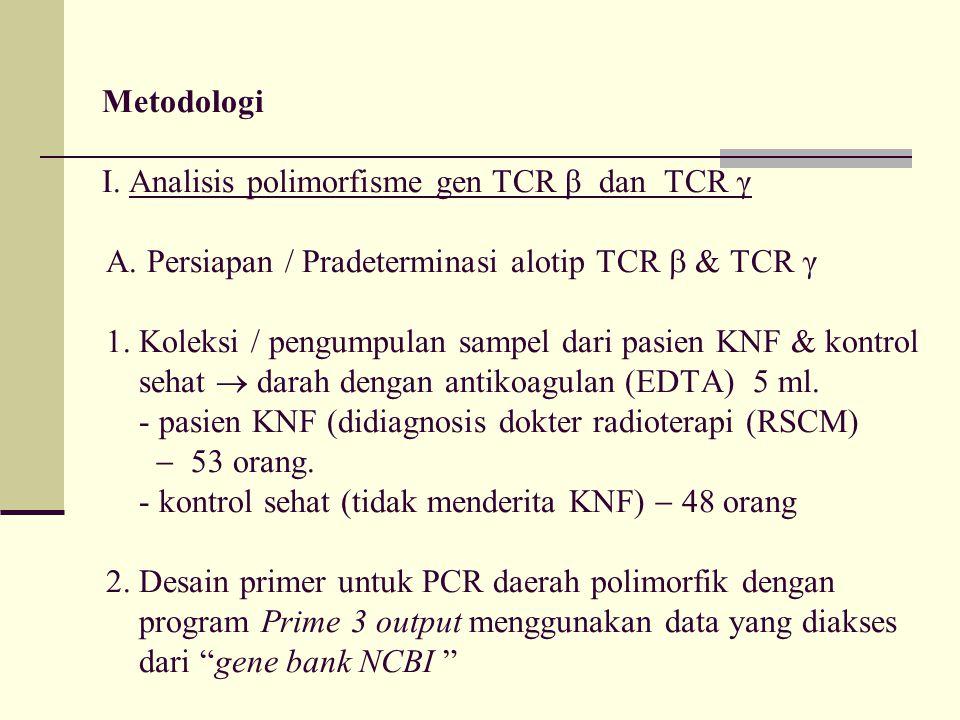 Metodologi I. Analisis polimorfisme gen TCR β dan TCR γ. A