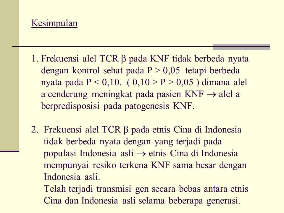 Kesimpulan. 1. Frekuensi alel TCR  pada KNF tidak berbeda nyata