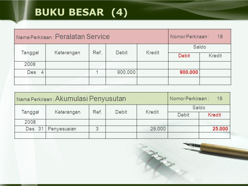 BUKU BESAR (4) Nama Perkiraan : Peralatan Service Nomor Perkiraan : 18