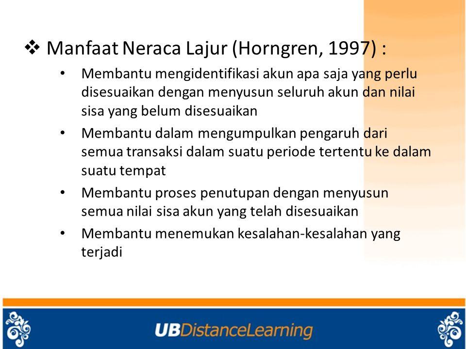 Manfaat Neraca Lajur (Horngren, 1997) :