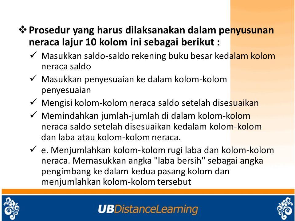 Prosedur yang harus dilaksanakan dalam penyusunan neraca lajur 10 kolom ini sebagai berikut :