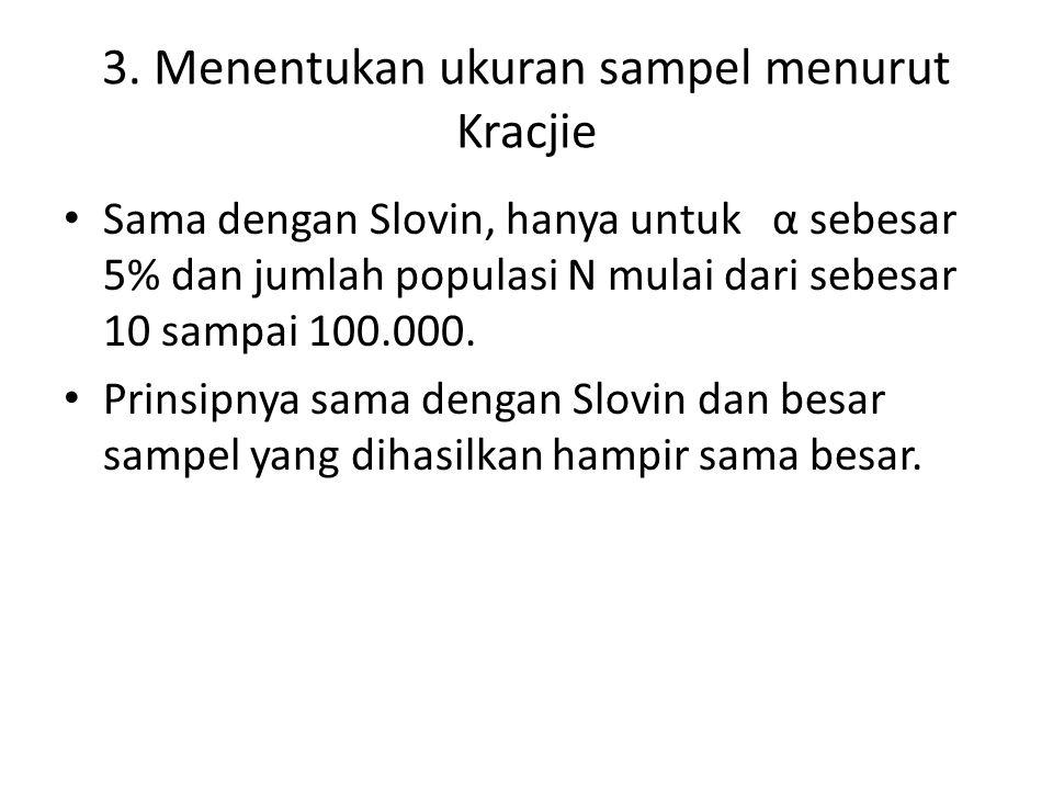 3. Menentukan ukuran sampel menurut Kracjie