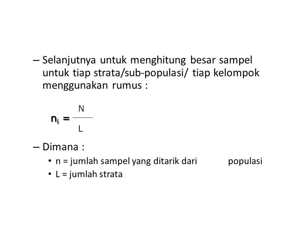 Selanjutnya untuk menghitung besar sampel untuk tiap strata/sub-populasi/ tiap kelompok menggunakan rumus :