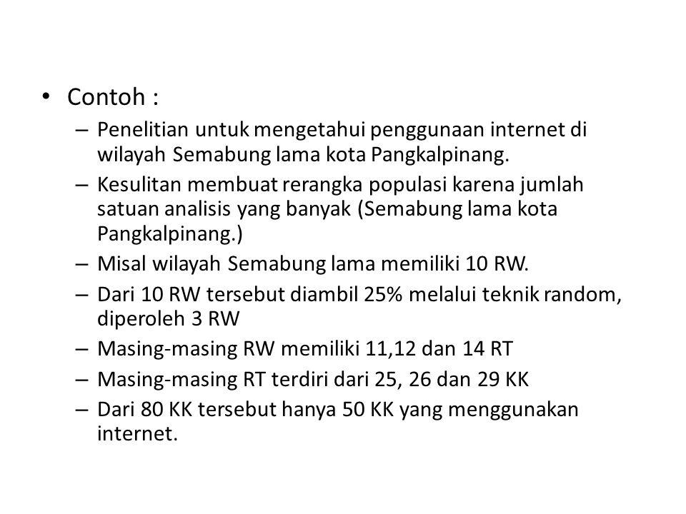 Contoh : Penelitian untuk mengetahui penggunaan internet di wilayah Semabung lama kota Pangkalpinang.