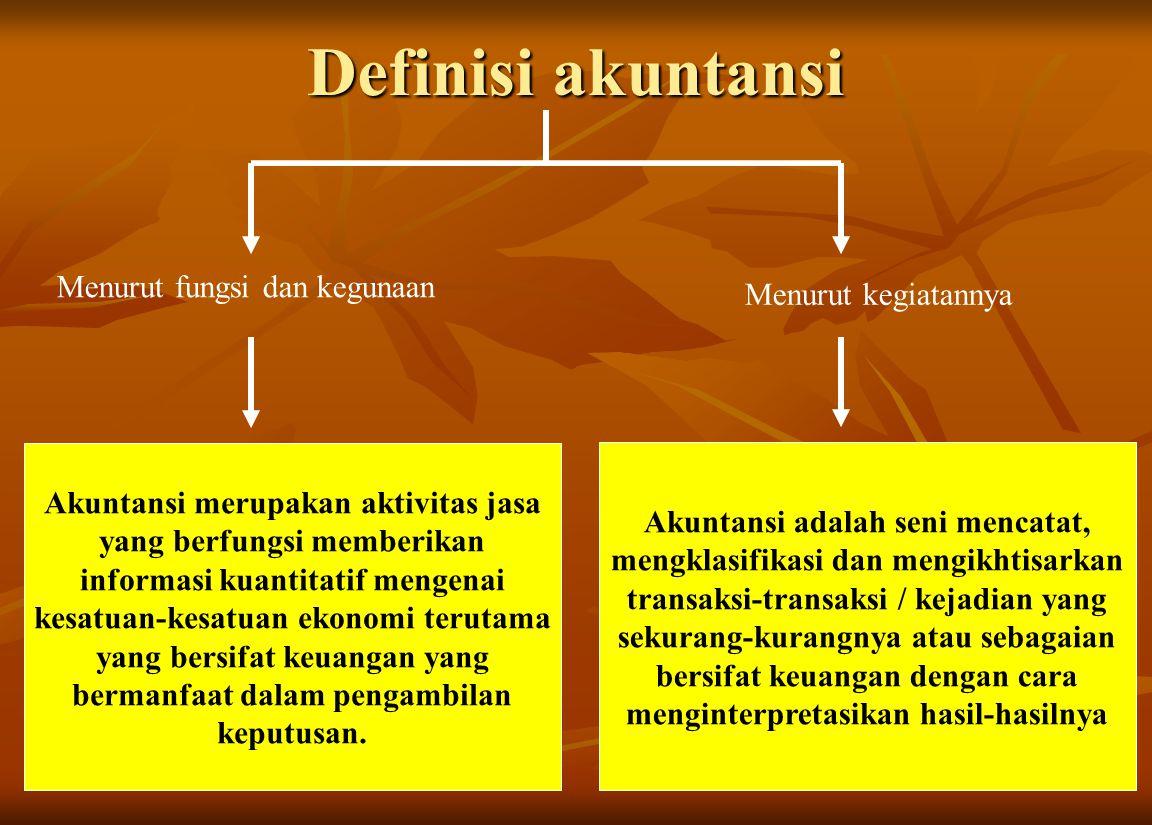 Definisi akuntansi Menurut fungsi dan kegunaan Menurut kegiatannya