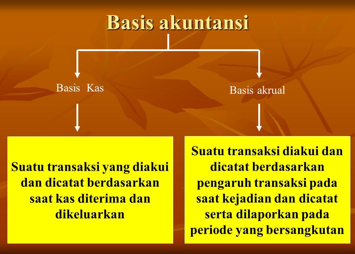 Basis akuntansi Basis Kas. Basis akrual. Suatu transaksi yang diakui dan dicatat berdasarkan saat kas diterima dan dikeluarkan.