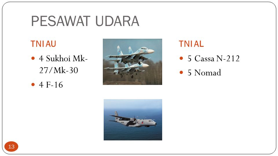 PESAWAT UDARA 4 Sukhoi Mk- 27/Mk-30 4 F-16 5 Cassa N-212 5 Nomad